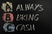 Acronym of ABC - Always bring cash — Stock Photo