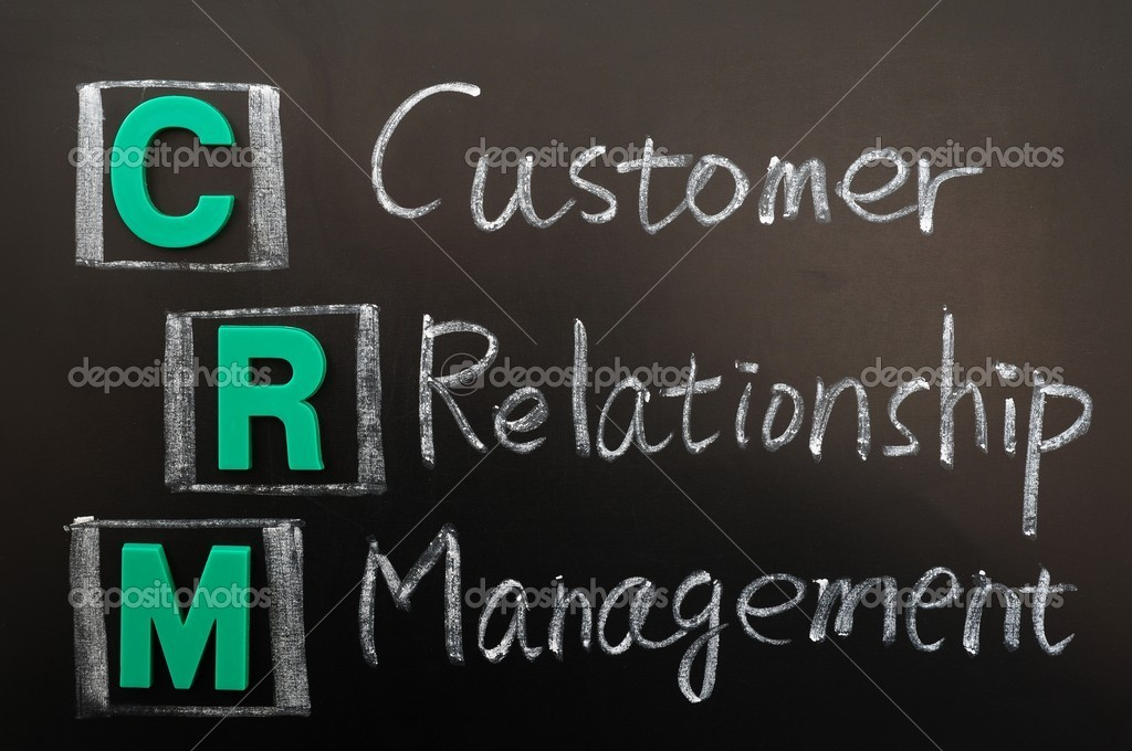 Acronym of CRM - Customer Relationship Management written on a blackboard — Stock Photo #8995337
