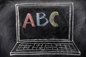 Chalk drawing of Laptop — Stock Photo