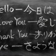 Learning Japanese on a blackboard — Stock Photo #9024986