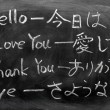 Stock Photo: Learning Japanese on a blackboard