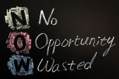 Acronym of NOW - No Opportunity Wasted — 图库照片
