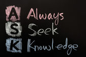 Acronym of ASK - Always seek knowledge — Stock Photo