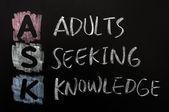Zkratka ask - dospělí sháněním vědomostí — Stock fotografie