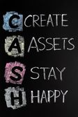 Cash acronym - create assets,stay happy — Stock Photo