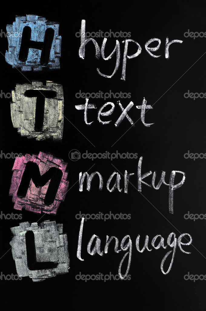 HTML acronym - hyper text markup language written in chalk on a blackboard — Stock Photo #9024713