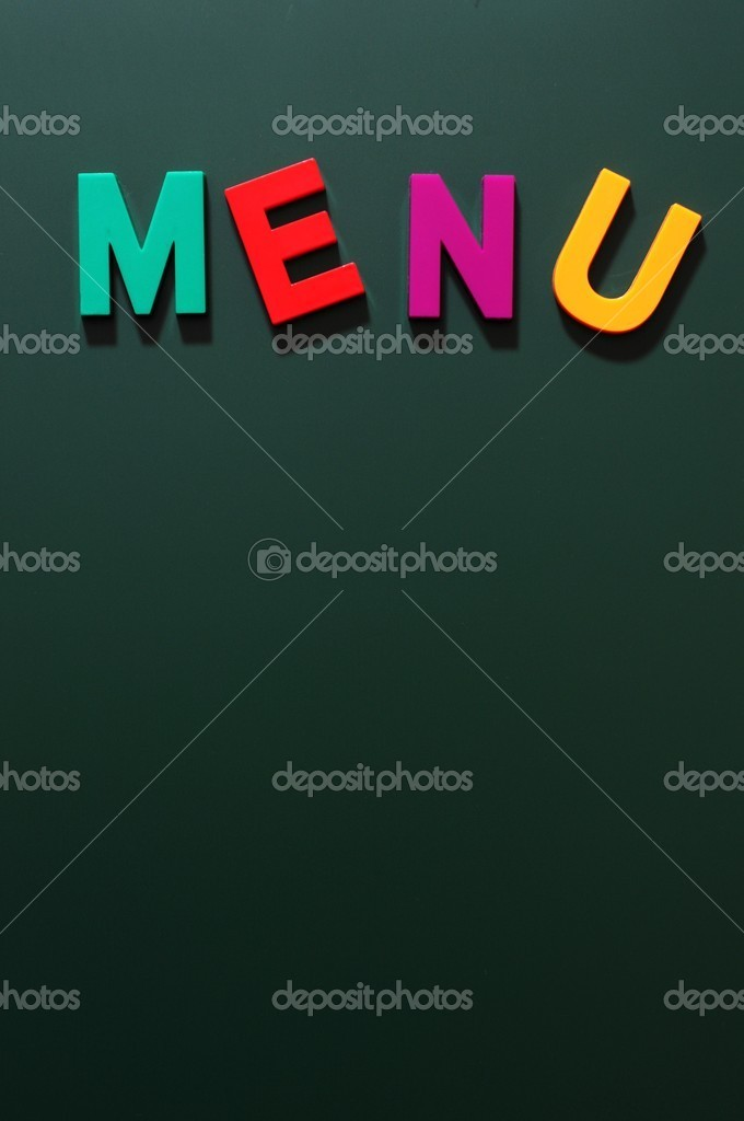 Menu with copy space on a blackboard  Stock Photo #9024765