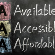 Acronym of AA- available, accessible. affordable — Stock Photo #9060218