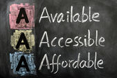 Acronym of AAA - available, accessible. affordable — Stock Photo
