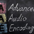 Acronym of AAE for Advanced Audio Encoding — Stock Photo