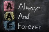 Acronyme de aaf pour toujours et à jamais — Photo