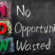 Acronym of NOW for No Opportunity Wasted — Stockfoto #9093016