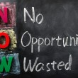 Acronym of NOW for No Opportunity Wasted — Stock Photo #9093016