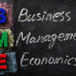 Acronym of BME for Business Management Economics — Stock Photo