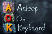 Acronym of AOK for Asleep on Keyboard — Stock Photo