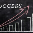 Charts of success written with chalk on a blackboard — Stock Photo