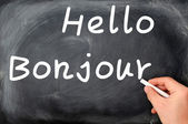 Hello with French Bonjour — Stock Photo
