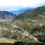 Landscape of zigzag mountain roads — Stock Photo