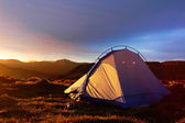 Camping tent in the morning sunlight — Stock Photo