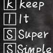Acronym of kiss for Keep it super simple — Stock Photo
