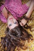 Portrait girl in haystack — Stock Photo