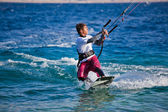 Kite surfing on the sea — Stock Photo