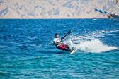 Kite surfing on the sea — 图库照片
