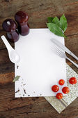 Spices and other products ingredients on notebook. — Stock Photo