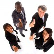 Multi-ethnic team with thumbs up — Stock Photo