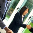 Working team shaking hands — Stock Photo