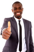 Businessman with thumb up — Stock Photo