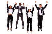 Multi-ethnic team rejoiced — Stock Photo