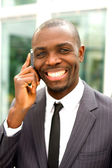 Businessman with mobile — Stock Photo
