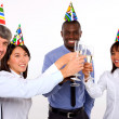 Multi-ethnic team toasting — Stock Photo #8030307