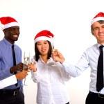 Multi-ethnic team celebrating christmas — Stock Photo