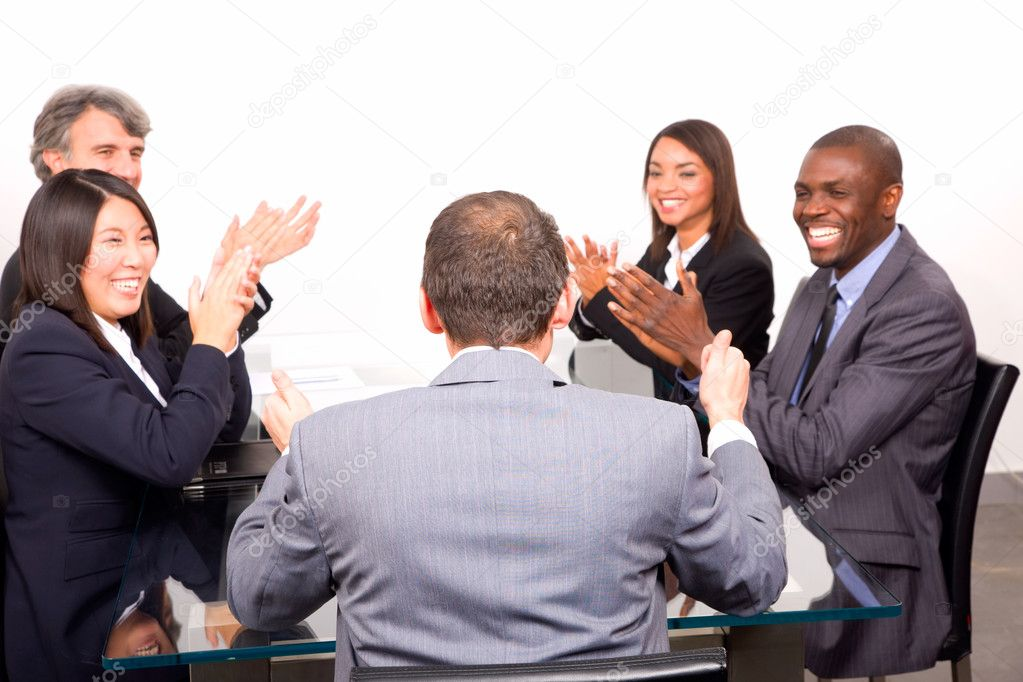 Multi-ethnic team during a meeting — Stock Photo #8031047