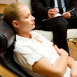 Psychiatrist examining a female patient — Stock Photo