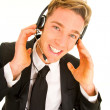 Businessman with headset and microphone customer service opearto — Stock Photo #9991593