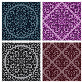 Vintage seamless patterns set. Vector illustration. — Stock Vector