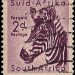 Royalty-Free Stock Photo: South Africa Postage Stamp Mountain Zebra 1954