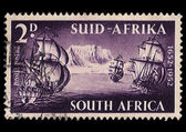 South Africa Postage Stamp 3 Ships 1952 — Stock Photo