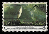 South Africa Postage Stamp Sail Boats on Stormy Sea Painting 198 — Stock Photo