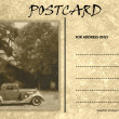 Royalty-Free Stock Photo: Vintage Empty Blank Motor Car Postcard Template