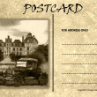 Stock Photo: Vintage Empty Blank Motor Car Postcard Template