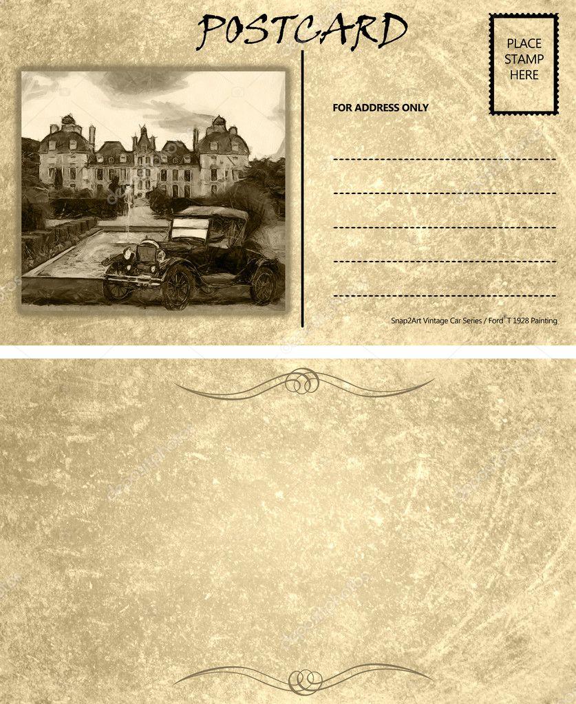 Vintage Empty Blank Motor Car Postcard Template Front Back — Stock ...
