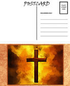 Empty Blank Postcard Template Fiery Christian Cross Image — Stock Photo