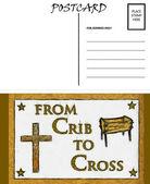 Empty Blank Postcard Template Crib and Cross Image — Stock Photo
