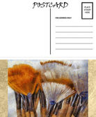 Empty Blank Postcard Template Artist Brushes Image — Stock Photo