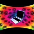 3D E-Mail Laptop Curved Rainbow Flying Messages — Stock Photo