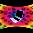 3D E-Mail Laptop Curved Rainbow Flying Messages — Stock Photo #10198210